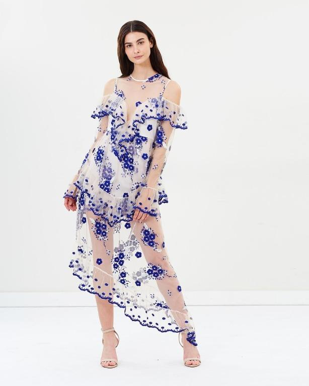 BNWT ALICE MCCALL BLUE & WHITE MIRAGE GOWN - SIZE 14 AU/10 US (RRP $590)