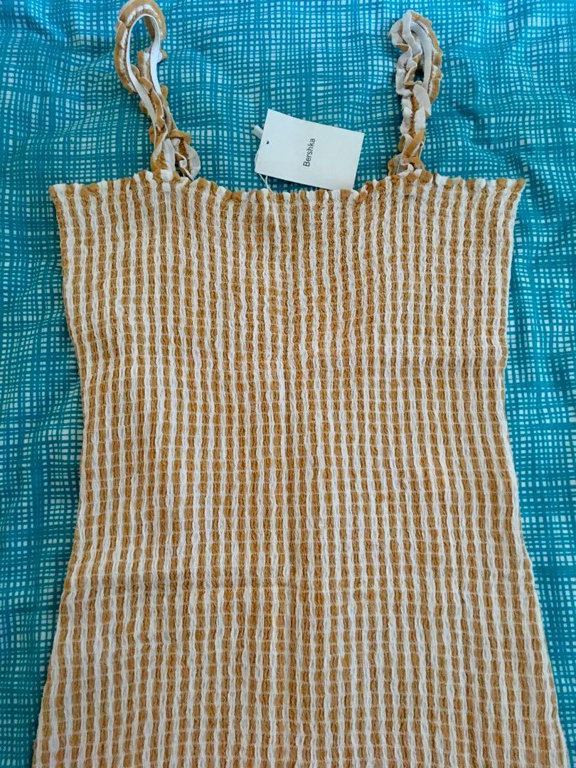 Bnwt Bershka Stretchy Shirred Checkered Mini Dress Size L RRP $60