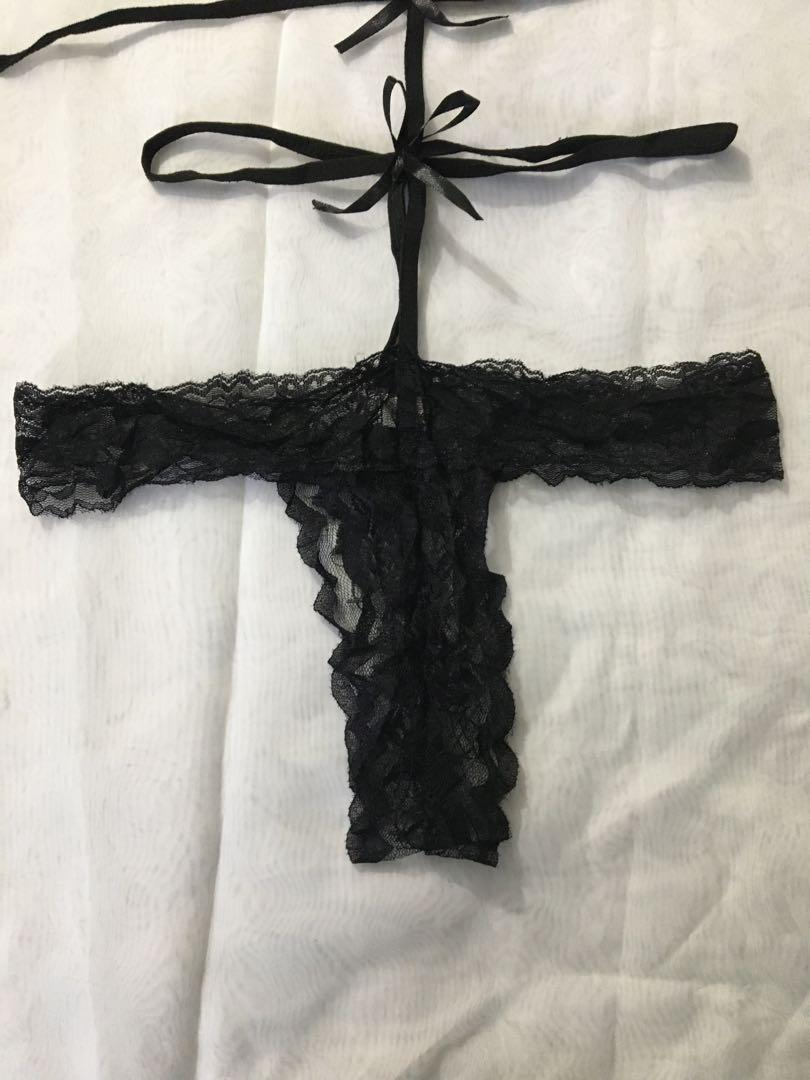 Bow Strapped Black Lingerie Christmas Valentines NewYear