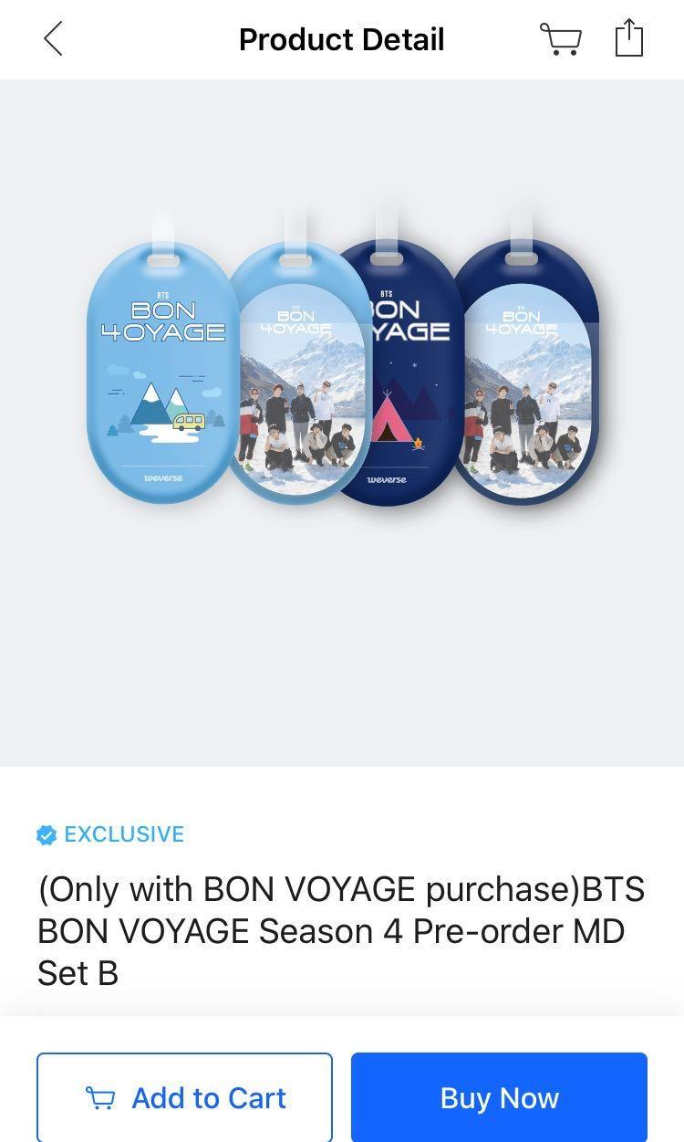 [+pos] BTS Bon Voyage S4 Luggage Tag and Photocard