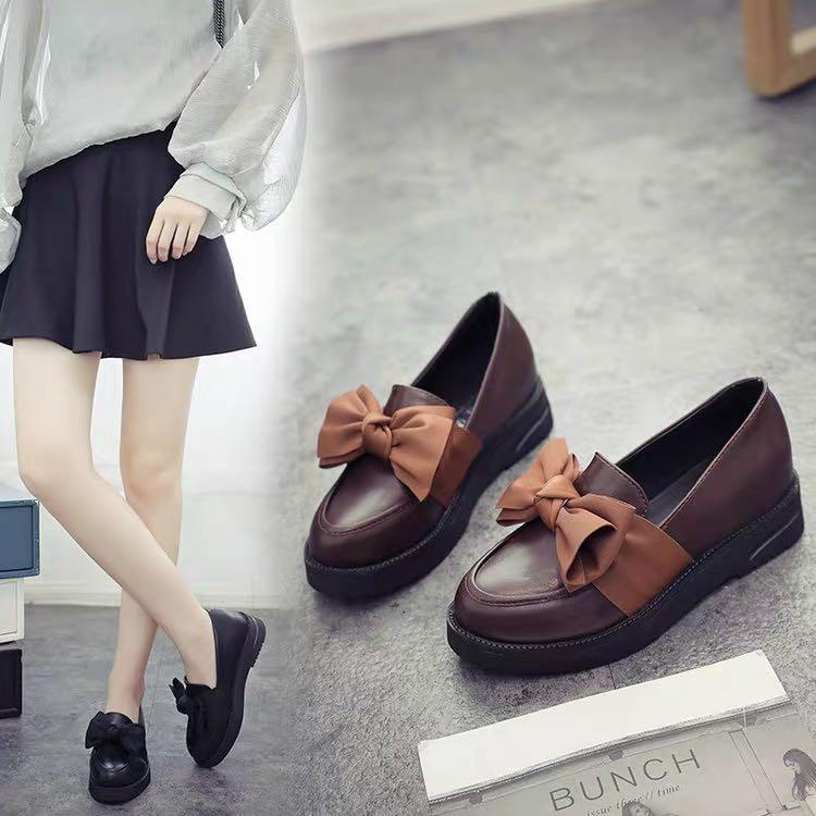 Cute Ribbon Leather Slip In Shoes