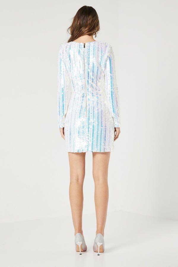 Elliatt Blondie Sequin Long Sleeve Mini Dress 8 10 12