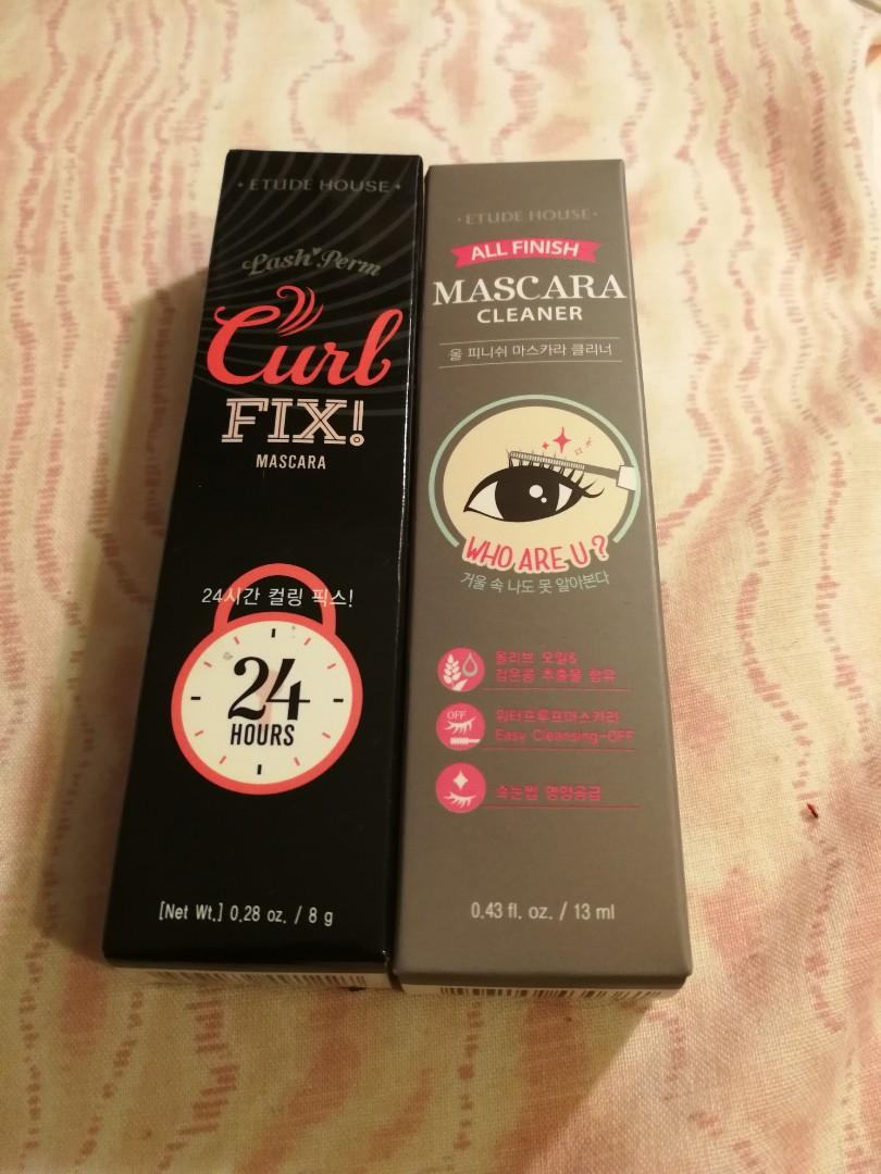 Etude House Curl Fix Mascara and Mascara Cleaner ➕ Dolly Wink Liquid Eyeliner