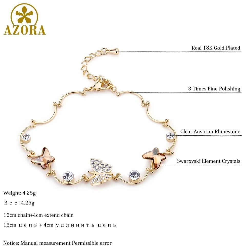 Gelang, austrian kristal, berlapis emas 18k
