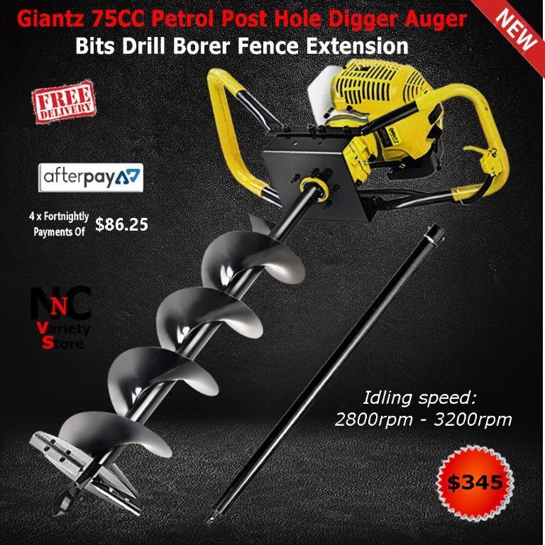 Giantz 75CC Petrol Post Hole Digger Auger Bits Drill Borer Fence Extension