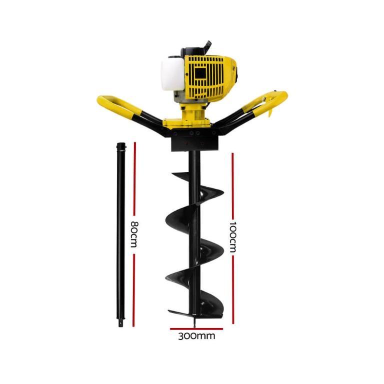 Giantz 75CC Petrol Post Hole Digger Drill Extension Auger Bits Borer Fence