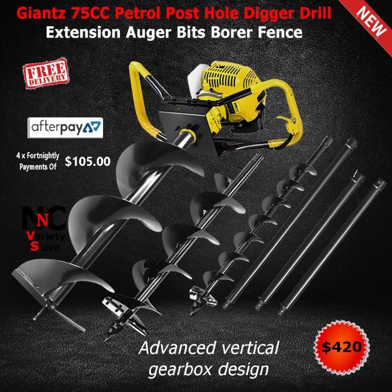 Giantz 75CC Post Hole Digger Petrol Drill Auger Borer Fence Extension Bits