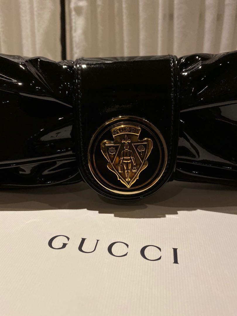 Gucci Black Patent Leather Papillon Hysteria Clutch