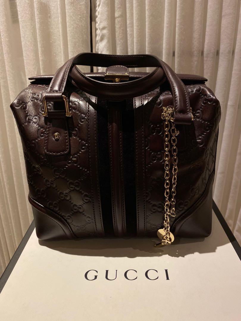 Gucci Monogram Leather Treasure Boston Shoulder Bag