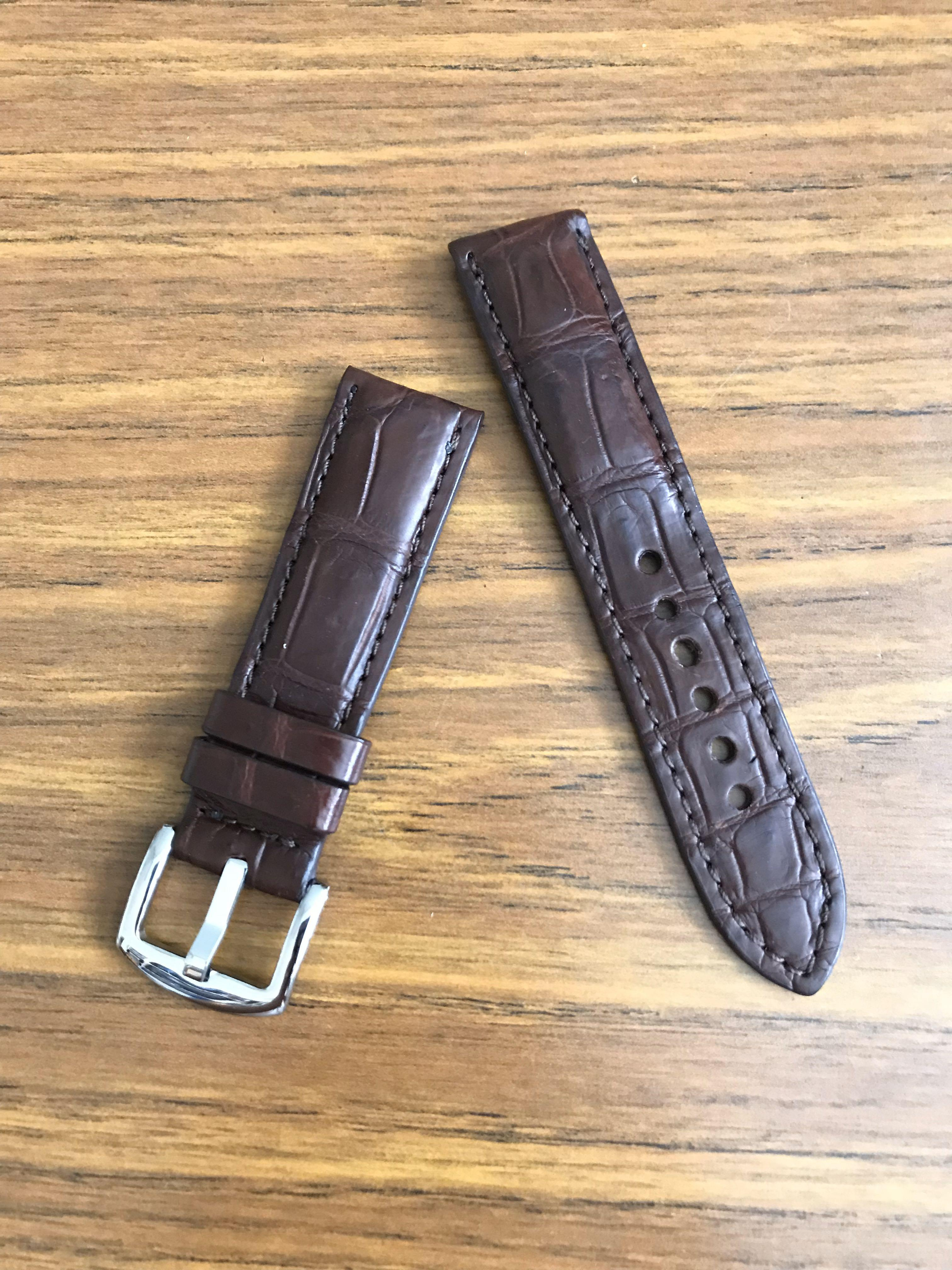 22mm/20mm Authentic Pecan Dark Brown Alligator Crocodile Watch Strap - Matte!! (Only piece in matte and brown and 22mm lug- once sold- no more 🙏🏻😊)