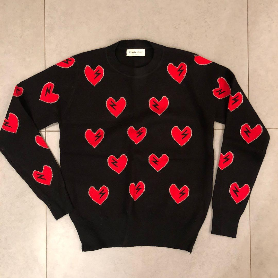 Korea red heart sweater knitwear 韓國紅心金線冷衫