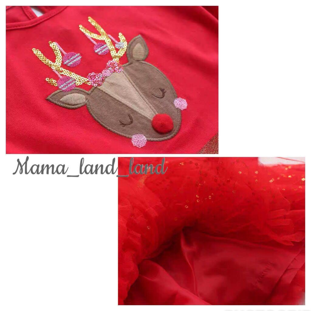 🌲🎉Merry X'mas🌲🎉~ Classic festival deer Embroidered bling bling Baby / kid girl cotton lace dress