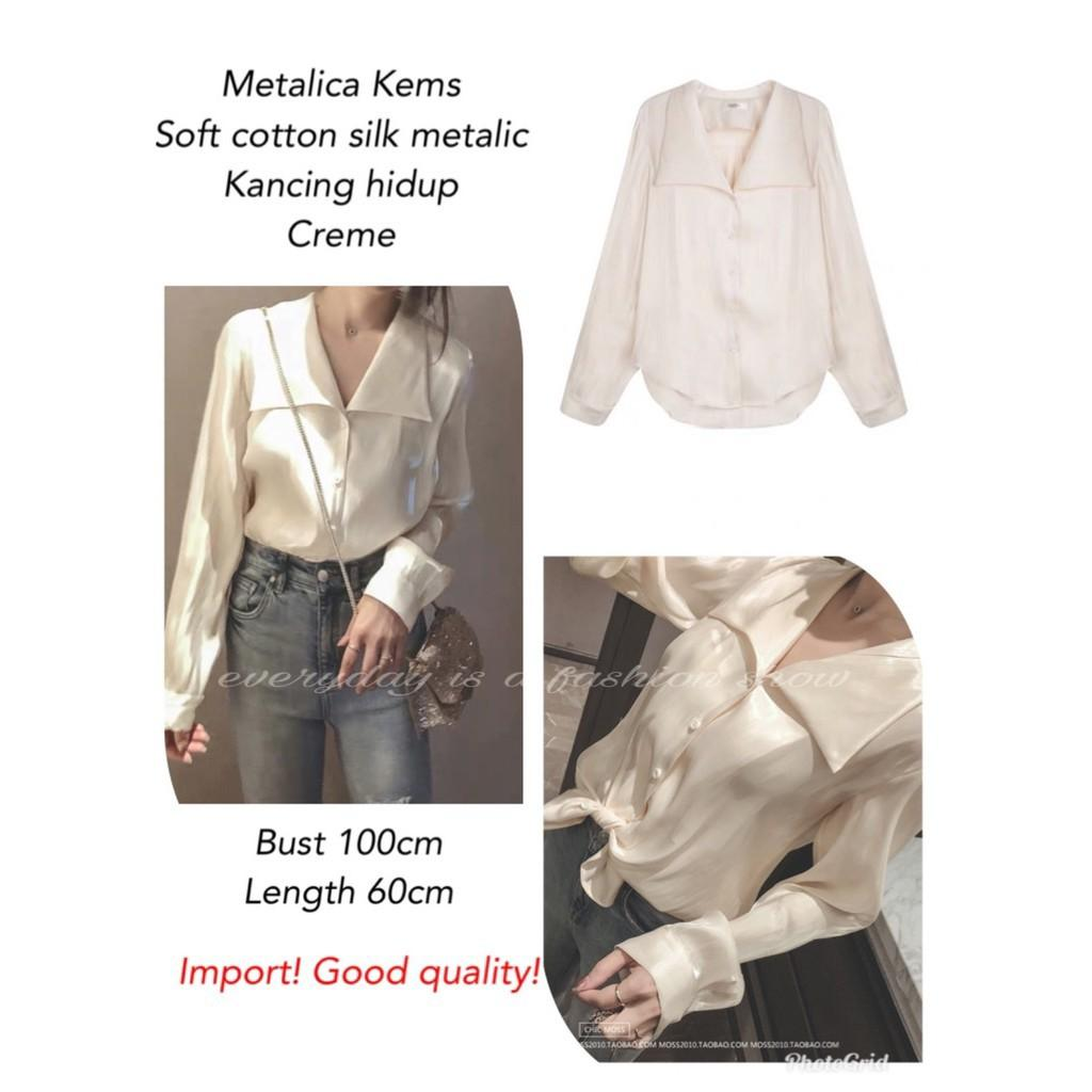 METALIC blouse kemeja polos panjang blouse casual blouse silk kekinian