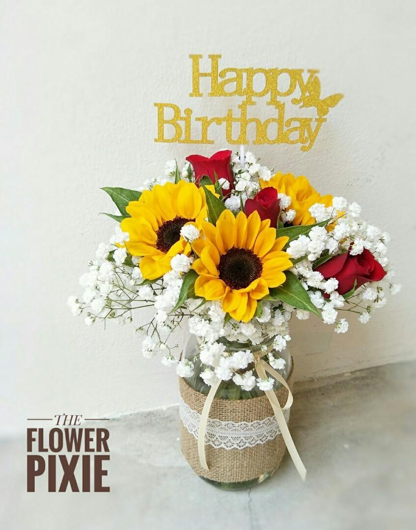MJ10: Mason Jar Sunflowers with Happy Birthday Topper Bouquet Birthday Flower Anniversary Flower Proposal Flower Graduation Flower Florist Flower Delivery