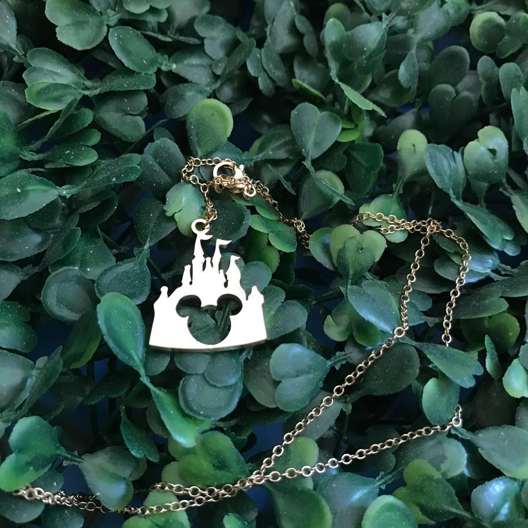 New Japan Disneyland castle Disney Mickey Mouse gold necklace