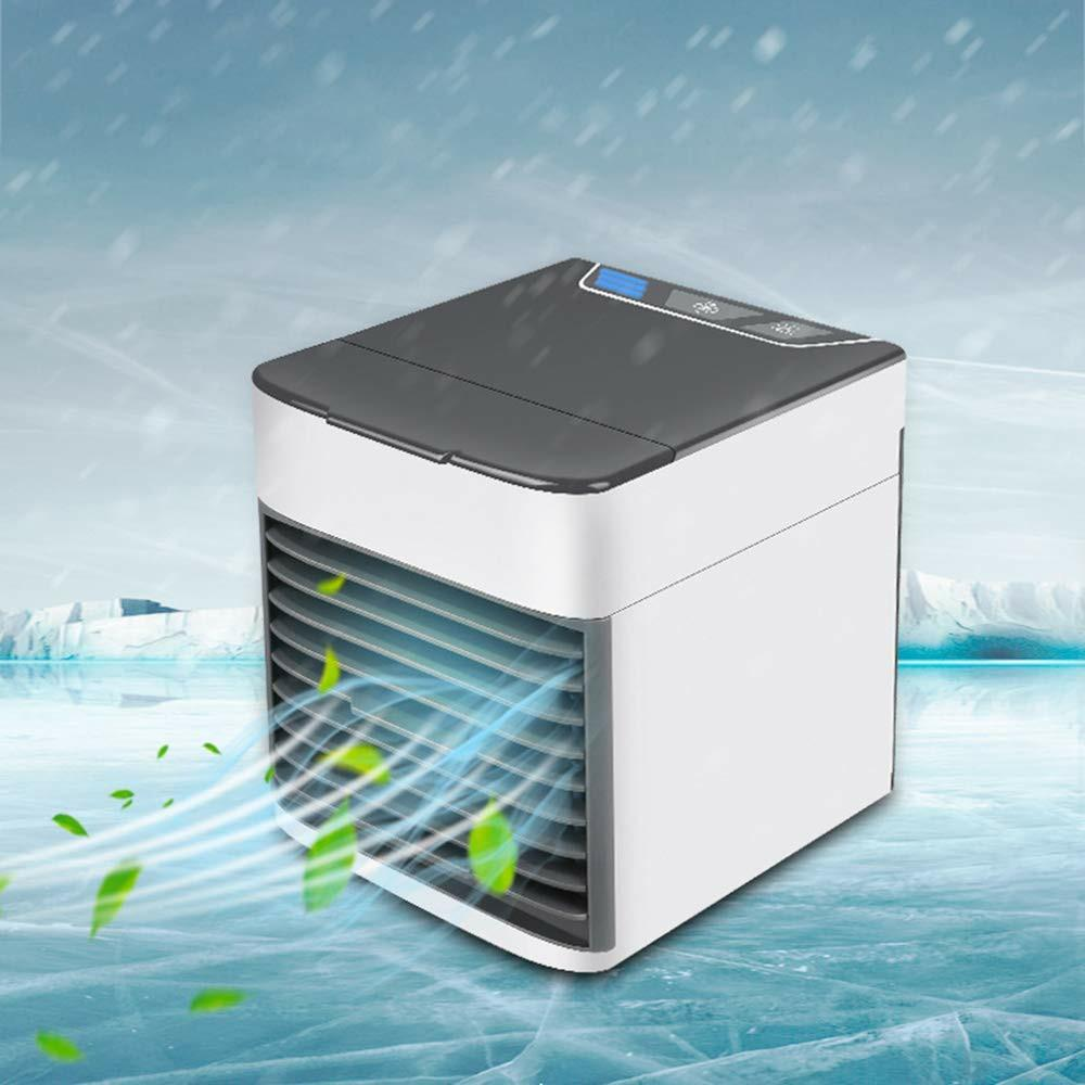 Portable Desktop Air Conditioner Fan, USB Mini Air Cooler Humidifier with 3 Speed and LED Light