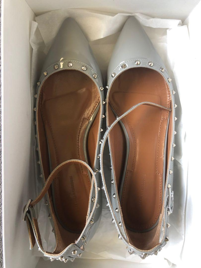 NEW Scanlan Theodore patent grey studded flats with ankle strap