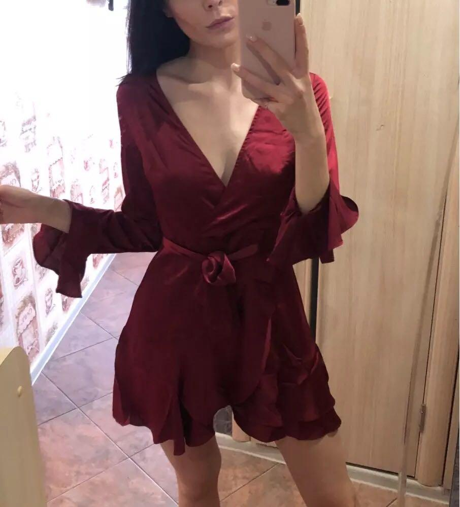 SHEIN Burgundy Party Split Back Ruffle Trim Overlap Front Cut Out Belted Dress Autumn Long Sleeve