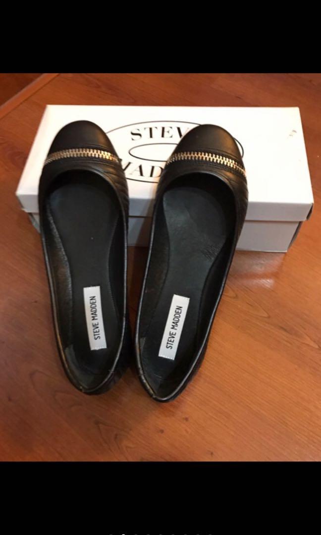 Steven Maden 拉鍊裝飾真皮車紋平底娃娃鞋