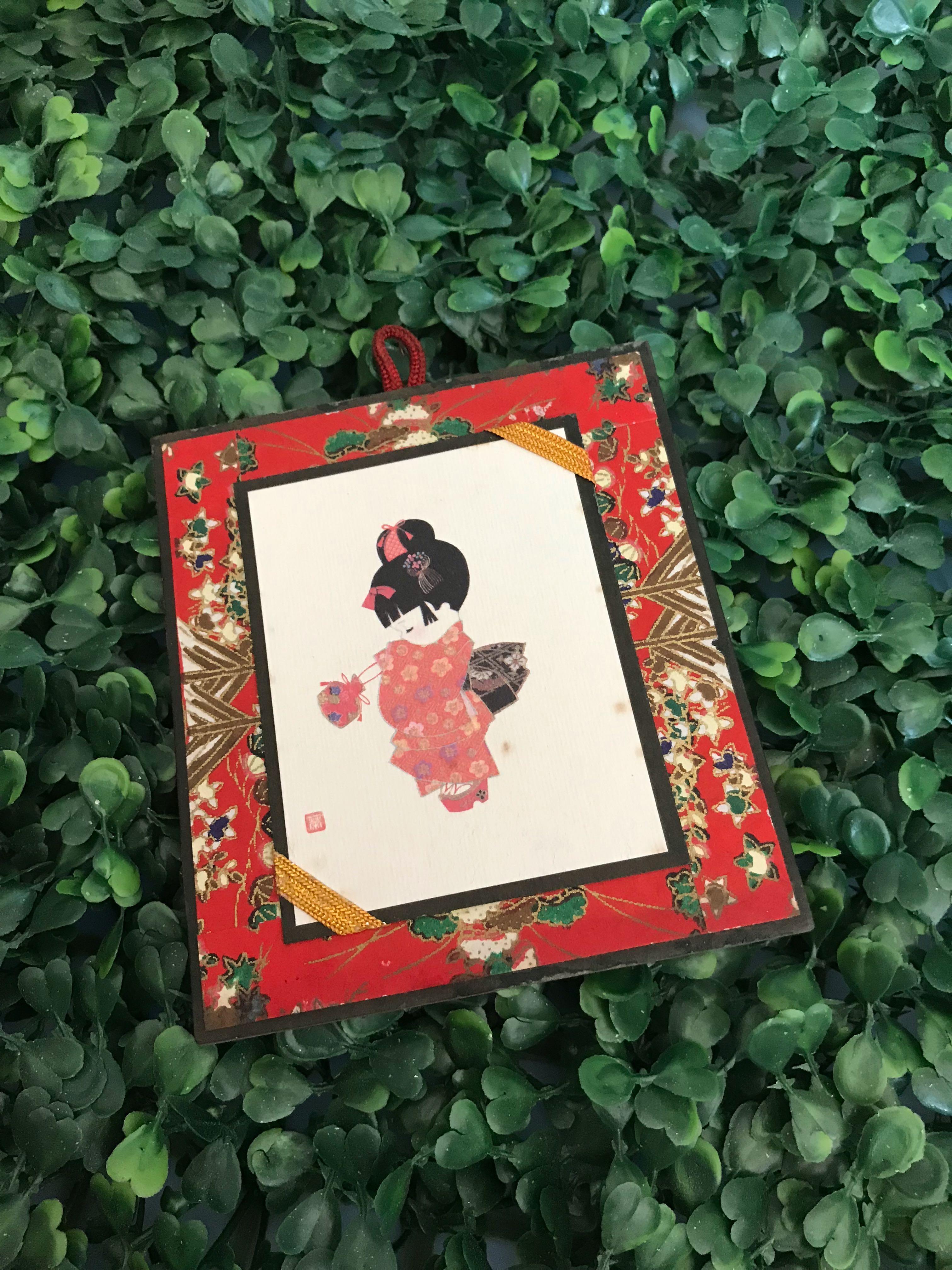Vintage Kyoto Japan Kimono girl art piece