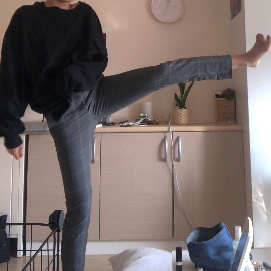 Zara 灰色格紋 老爺褲 西裝褲