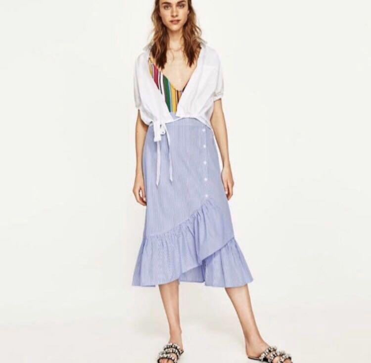 Zara asymmetrical midi skirt with ruffles and buttons