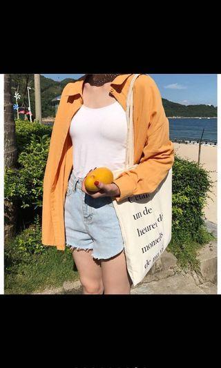 土橘色長袖襯衫