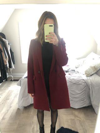 Zara burgundy coat XS