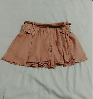 清倉雪舫褲裙 短裙 附贈皮帶 鬆緊帶褲頭