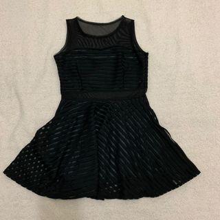 黑色條紋彈性雪紡洋裝 #2019出清