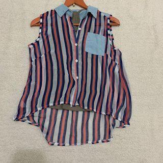 兩件式藍色直條紋襯衫背心 #2019出清