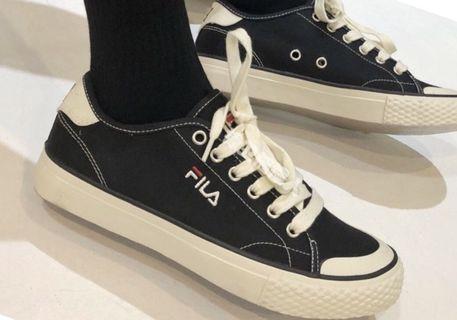 正品 FILA 基本款 帆布鞋 黑色