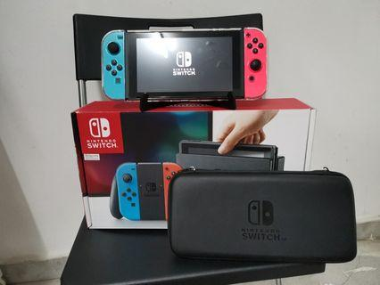 Nintendo Switch with accesories and box