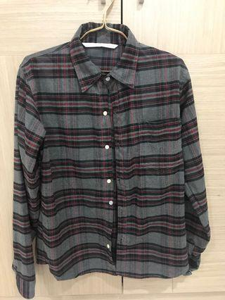 僅試穿 深灰 格子襯衫  基本款配色 男S-男M可穿