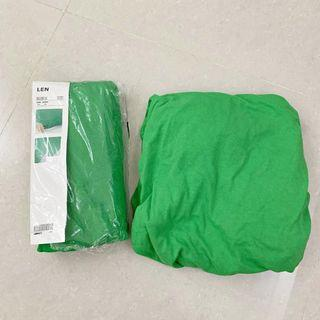 IKEA 兒童織品 LEN 床包 綠色 2件裝 (一件二手 一件全新)
