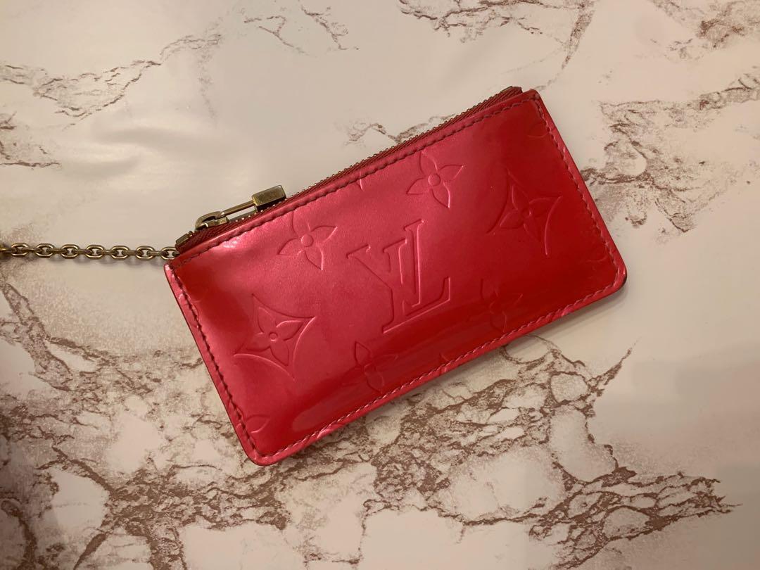 100% Authentic Louis Vuitton Vernis Monogram Cles Keh Pouch - Fuchsia
