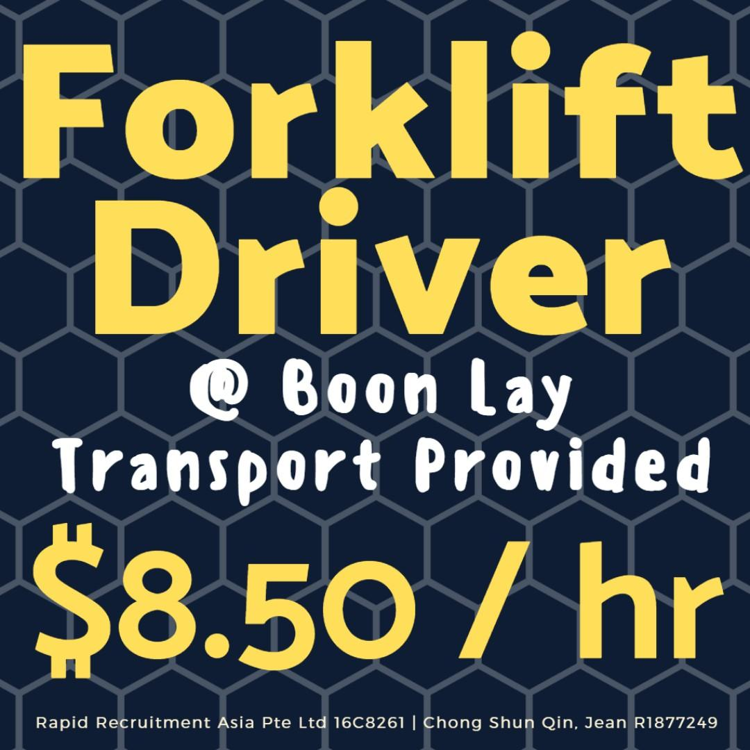10 Forklift Driver (Boon Lay/2 Wk Salary/Trpt Provided) - JQ