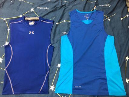 Nike Dri-fit背心 & UA無袖運動訓練緊身衣