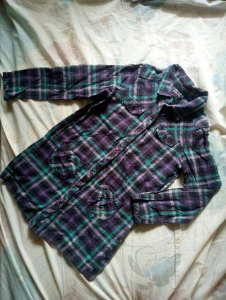 Hang ten kids  紫綠格紋襯衫