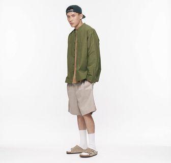 plain-me 長袖立領棉質襯衫 軍綠色