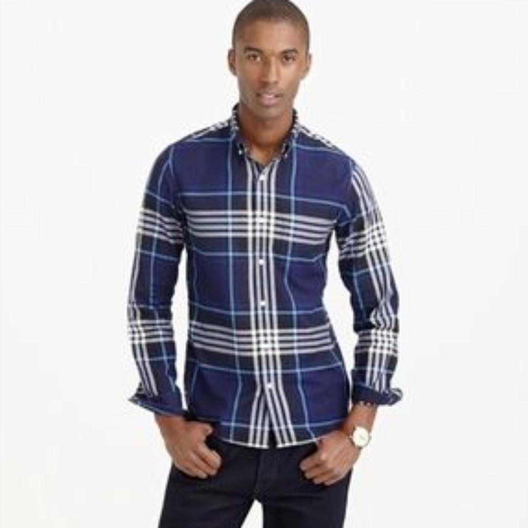 【$140帶走過千英國高質布】J.Crew x 名布廠Thomas Mason啡藍格薄身flannel恤