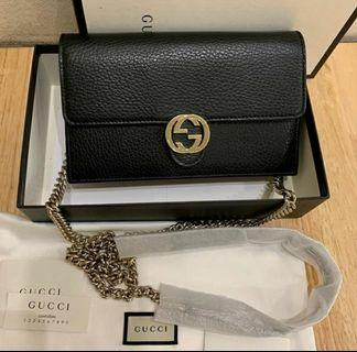 Authentic Gucci Interlocking Wallet on Chain in Black