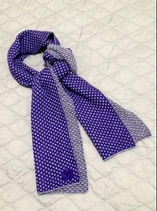 極新 / CHANEL 藍紫x灰色雙面針織圍巾cashmere