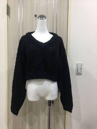短版暗黑麻花編織毛衣