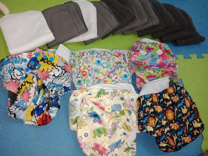 Cloth Diaper 5 nappies plus 11 bamboo inserts
