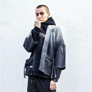 【 Gshop.】暗黑漸變色日系和風道袍男復古刺繡寬鬆七分袖夾克外套
