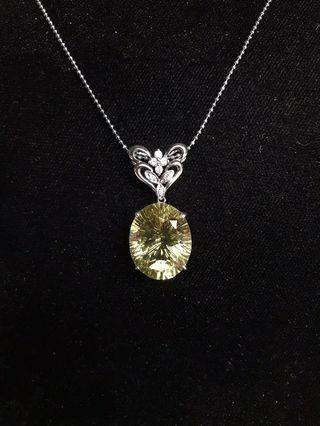 天然黃水晶項鍊 18K鑽石項鍊13.68克拉