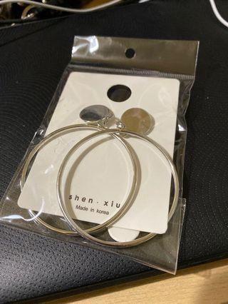 大圓圈耳環-銀