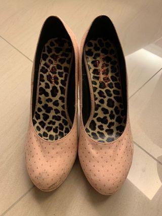 粉色圓點高跟鞋 37,23.5