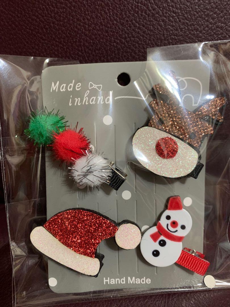 全新一包4件女童髮夾(聖誕🎄雪人) 送平郵